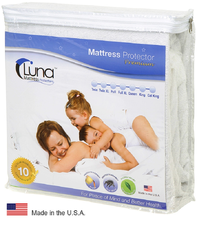 Luna Premium Hypoallergenic Waterproof Mattress Protector -  Made in the USA