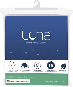 Luna Premium Hypoallergenic Waterproof Bed Bug Proof Pillow Protector Made in the USA